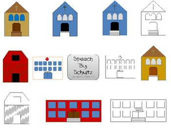 School, Church, Barn, Hospital Clip Art- for Personal or Commercial Use