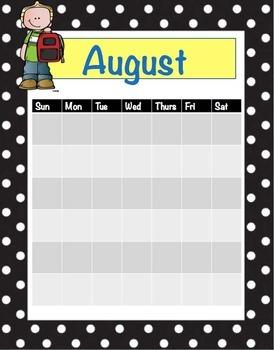 School Class Calendar (blank)