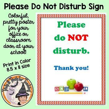 Please Do Not Disturb School Classroom Door Do Not Disturb Sign Poster