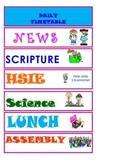 School Classroom Visual Timetable