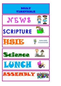 School Classroom Visual Timetable