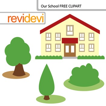 School Clip Art - School Building Clipart - FREE