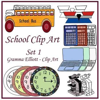 Clip Art - School Supplies - Balance Calculator Computer Bus Wall clocks