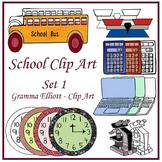 School Clip Art Realistic Balance Calculator Computer Bus Wall clocks SET 1