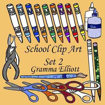 Clip Art - School Supplies Set 2 - Realistic - Color and Black Line