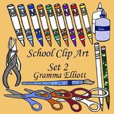 School Clip Art Set 2 Markers Scissors Pencils Glue Hole Punch Color and BW