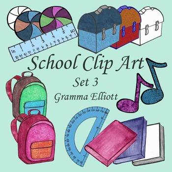 School Clip Art - Lunch - box - ball - protractor - ruler - backpack - Set3