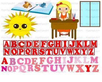 School Clip Art teacher alphabet teachers desk chair sun party abc kids -074-