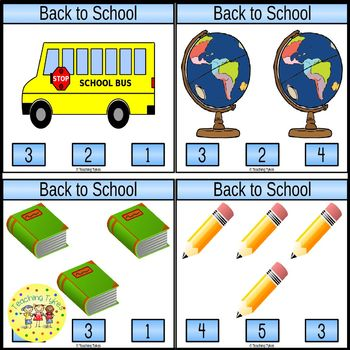 Back to School Count and Clip Task Cards