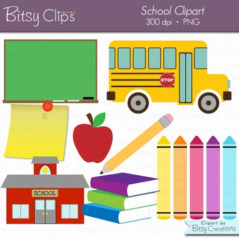 School Clipart Digital Art Set INSTANT DOWNLOAD Back to School