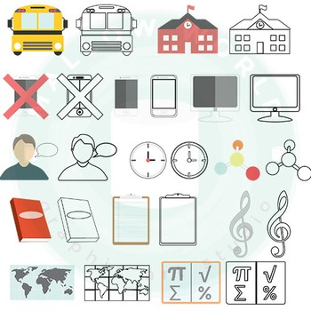 School Icons Infographic Clip Art