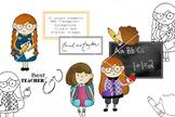 School Clipart - and Digital Stamp Set - Hedgehog - Tinsel