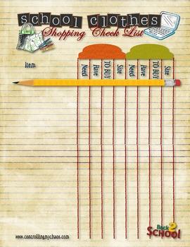 School Clothes Shopping Checklist