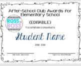 School Club Awards and Certificates (EDITABLE)