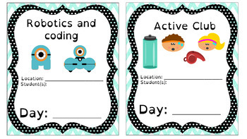 """After School Clubs """"Where am I going?"""" Posters (Blue Chevron)"""
