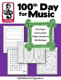 100 Hundred Days of MUSIC: writing page, coloring, music m