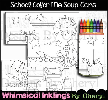 School Coloring Soup Can Covers