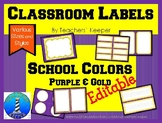 Classroom Decor Labels: Purple & Gold Editable