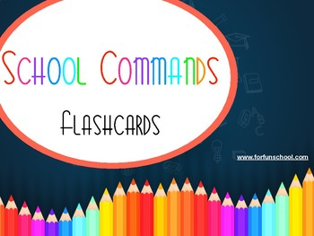 School Commands Flashcards Big size