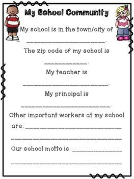 School Community Printables K-2