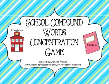 School Compound Words Concentration Game! - Literary Center Game