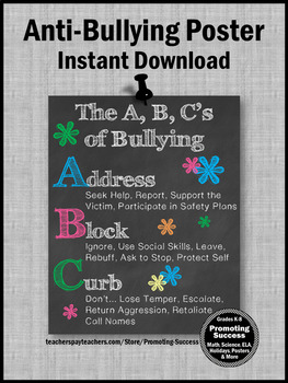 Bullying ABCs Prevention Printable Classroom Poster School Counseling Counselor