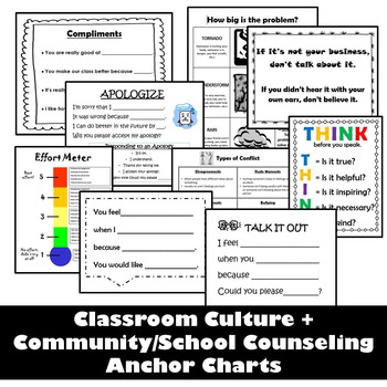 Classroom Culture and Community/School Counseling Anchor Charts