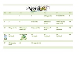 School Counseling April Lesson Plan Calendar