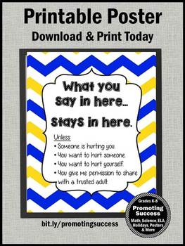 Blue Yellow Chevron School Counselor Confidentiality Rules Sign 8x10 16x20