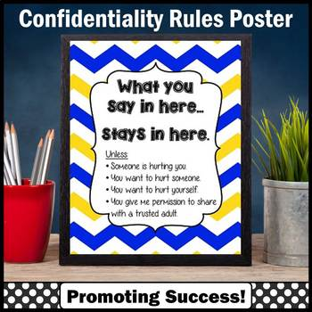 Blue Yellow Chevron School Counselor Confidentiality Sign Printable 8x10 16x20