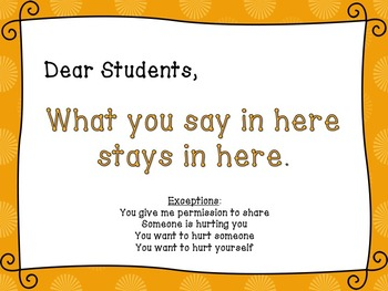 School Counseling Confidentiality Poster - Orange