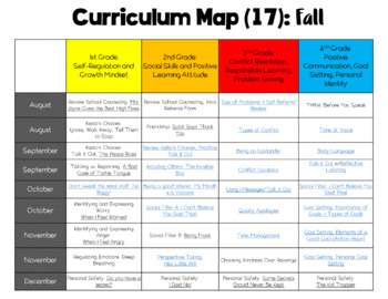School Counseling Curriculum Map (17 lessons)
