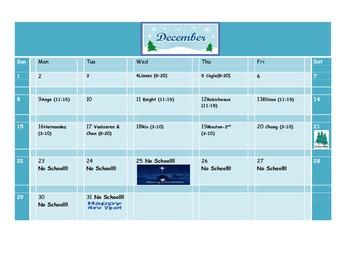 School Counseling December Lesson Plan Calendar