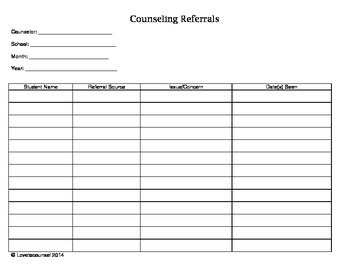 School Counseling Documentation Packet 2015/2016