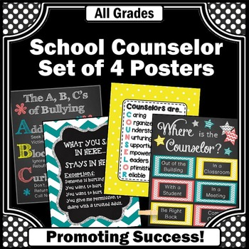 School Counselor Office Door Counseling Posters in Teal Co