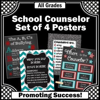 School Counselor Posters, Teal and Red, Where is the Counselor Sign