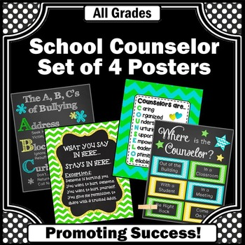 Where is the Counselor Poster, Confidentiality Sign Set of 4 Green Blue Yellow