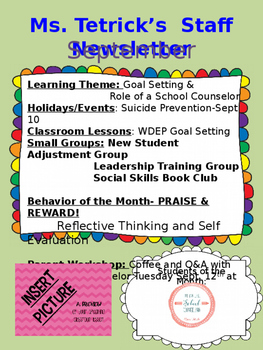 School Counseling Editable Newsletter and Catalogue for Te