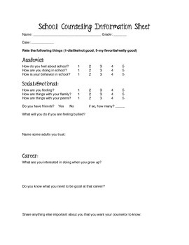 School Counseling Information Sheet
