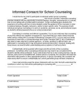 School Counseling Informed Consent and Request for Services
