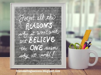 Believe in Yourself Inspirational Poster Chalkboard Classroom Decor 8x10 16x20
