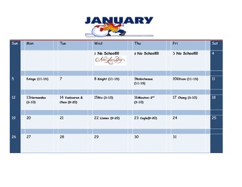 School Counseling January Lesson Plan Calendar