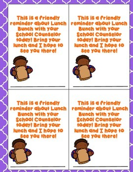 Lunch Bunch Reminder Cards