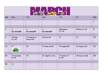 School Counseling March Lesson Plan Calendar
