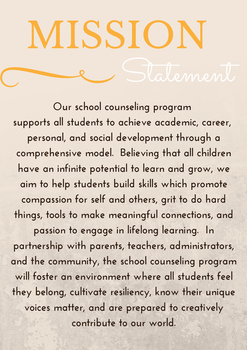School Counseling Mission Statement Poster