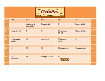 School Counseling October Lesson Plan Calendar