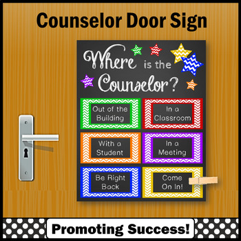 School Counseling Office Decor , Colorful Where is the School Door Sign