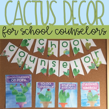 School Counseling Office Decor: Watercolor Cactus Decor