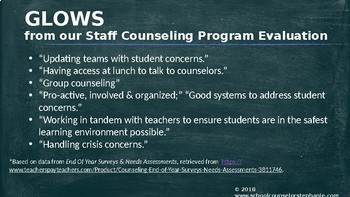School Counseling Program End Of Year Presentation- EDITABLE!
