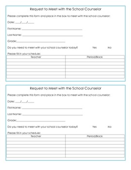 School Counseling Self Referral Request Forms- Secondary Education
